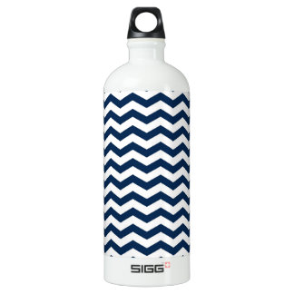 Navy Blue and White Chevron Stripes Pattern Water Bottle
