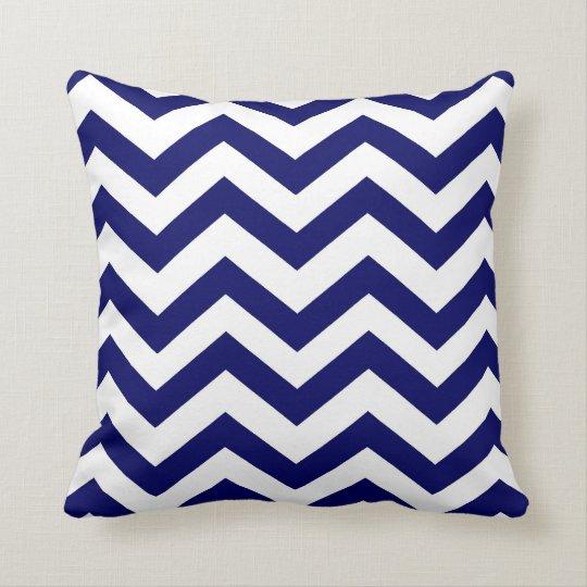 Navy Blue and White Chevron Throw Pillow Zazzle