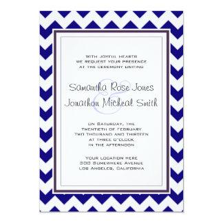 Navy Blue and White Chevron Wedding 5x7 Paper Invitation Card