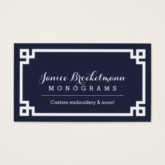 Navy Blue and White Chic Greek Key Border Business Card