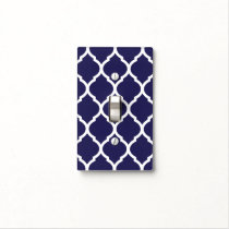 Navy Blue and White Chic Moroccan Lattice Light Switch Cover