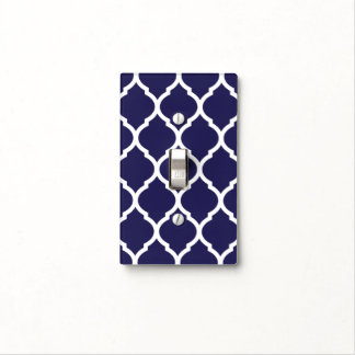 Navy Blue and White Chic Moroccan Lattice Switch Plate Cover