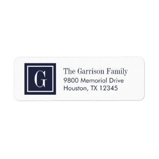 Navy Blue and White Classic Square Monogram Label