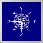 Navy Blue And White Coastal Decor Compass Rose