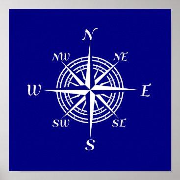 Beach Themed Navy Blue And White Coastal Decor Compass Rose