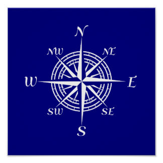 Navy Blue And White Coastal Decor Compass Rose Poster