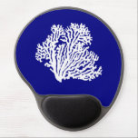 "Navy Blue And White Coastal Decor Coral Gel Mouse Pad<br><div class=""desc"">Ocean themed classic coastal decor of navy blue and white coral symbol,   Ocean Coral reef design for coastal living or beach d&#233;cor. Perfect for a seaside cottage or a beach house.</div>"