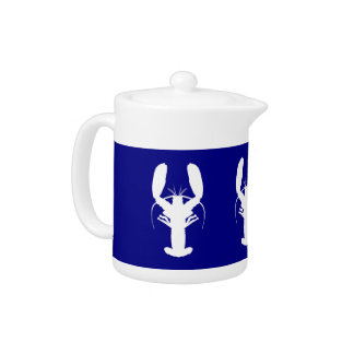 Navy Blue And White Coastal Decor Lobster Teapot