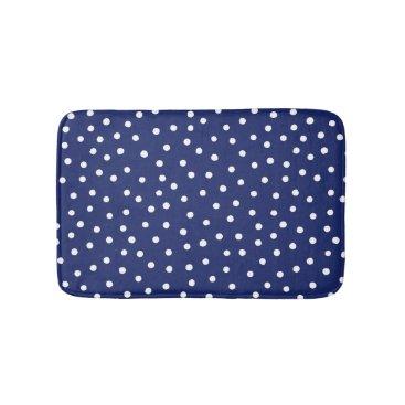 Beach Themed Navy Blue and White Confetti Dots Pattern Bath Mat