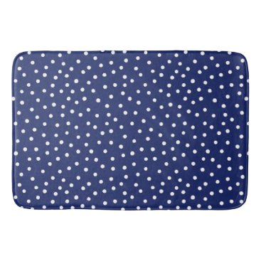 Beach Themed Navy Blue and White Confetti Dots Pattern Bath Mat