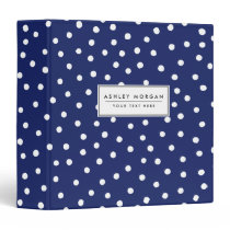 Navy Blue and White Confetti Dots Pattern Binder