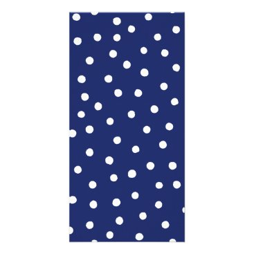 Beach Themed Navy Blue and White Confetti Dots Pattern Card