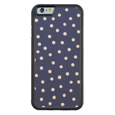 Beach Themed Navy Blue and White Confetti Dots Pattern Carved® Maple iPhone 6 Bumper Case