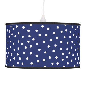 Beach Themed Navy Blue and White Confetti Dots Pattern Ceiling Lamp
