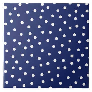 Beach Themed Navy Blue and White Confetti Dots Pattern Ceramic Tile