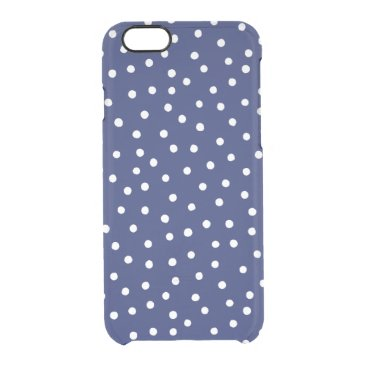 Beach Themed Navy Blue and White Confetti Dots Pattern Clear iPhone 6/6S Case