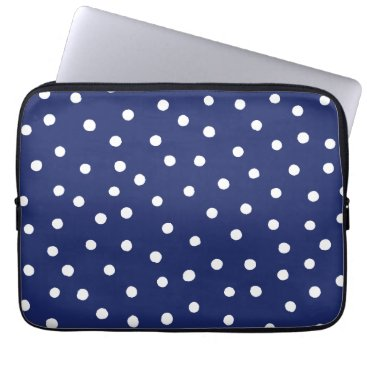 Beach Themed Navy Blue and White Confetti Dots Pattern Computer Sleeve