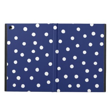 Beach Themed Navy Blue and White Confetti Dots Pattern Cover For iPad Air