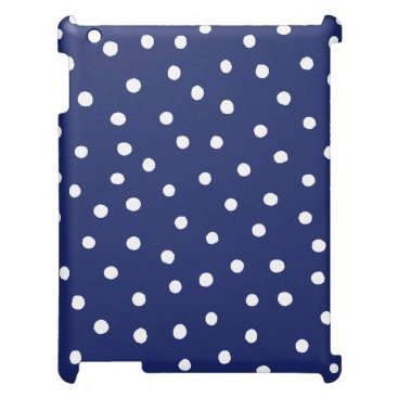Beach Themed Navy Blue and White Confetti Dots Pattern Cover For The iPad