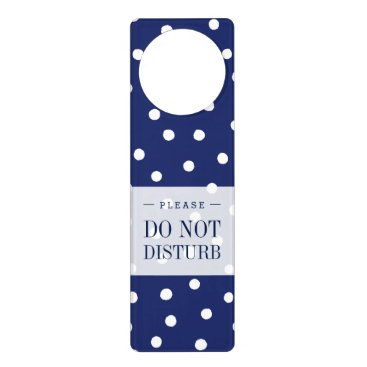 Beach Themed Navy Blue and White Confetti Dots Pattern Door Hanger