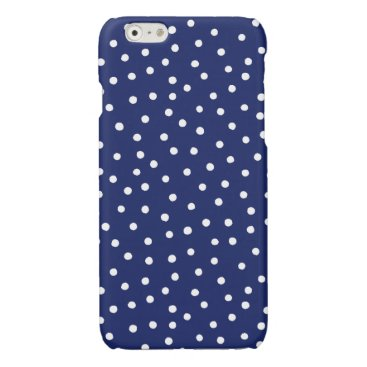 Beach Themed Navy Blue and White Confetti Dots Pattern Glossy iPhone 6 Case
