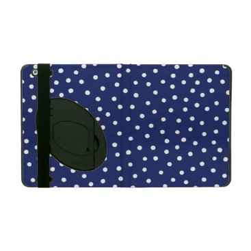 Beach Themed Navy Blue and White Confetti Dots Pattern iPad Folio Case