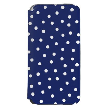 Beach Themed Navy Blue and White Confetti Dots Pattern iPhone 6/6s Wallet Case