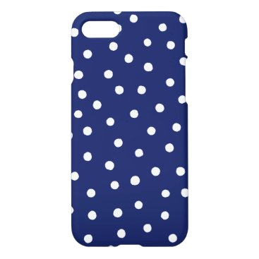 Beach Themed Navy Blue and White Confetti Dots Pattern iPhone 8/7 Case