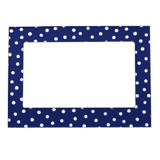Navy Blue and White Confetti Dots Pattern Magnetic Photo Frame