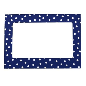 Beach Themed Navy Blue and White Confetti Dots Pattern Magnetic Photo Frame