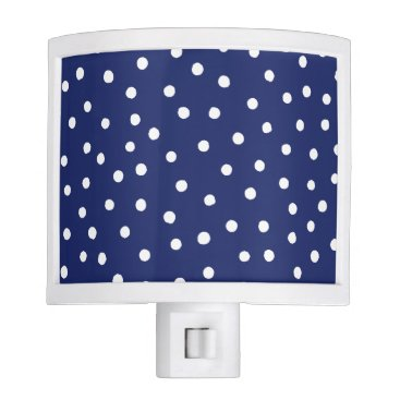 Beach Themed Navy Blue and White Confetti Dots Pattern Night Light