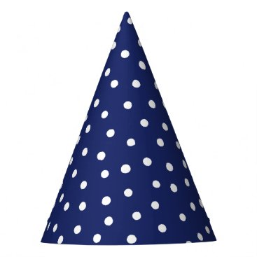 Beach Themed Navy Blue and White Confetti Dots Pattern Party Hat