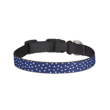 Beach Themed Navy Blue and White Confetti Dots Pattern Pet Collar