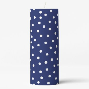 Beach Themed Navy Blue and White Confetti Dots Pattern Pillar Candle