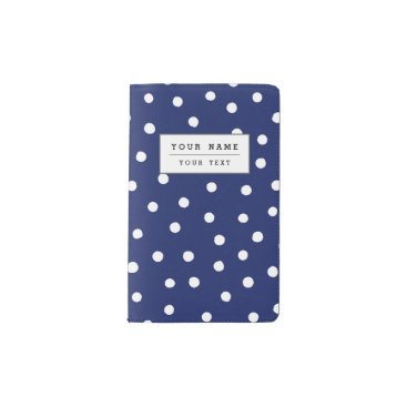 Beach Themed Navy Blue and White Confetti Dots Pattern Pocket Moleskine Notebook