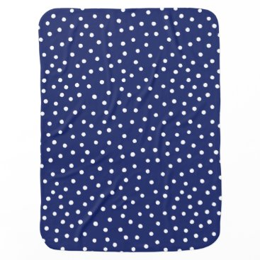 Beach Themed Navy Blue and White Confetti Dots Pattern Receiving Blanket