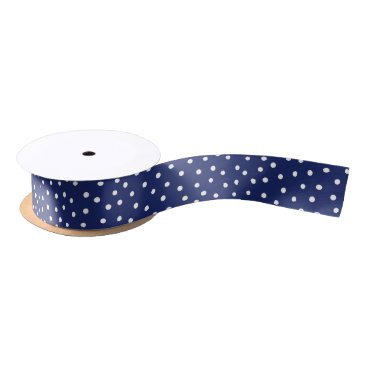 Beach Themed Navy Blue and White Confetti Dots Pattern Satin Ribbon