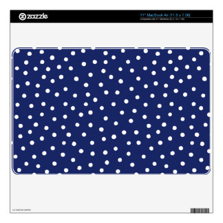 Navy Blue and White Confetti Dots Pattern Skins For The MacBook Air