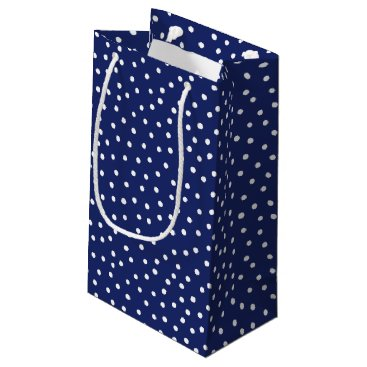 Beach Themed Navy Blue and White Confetti Dots Pattern Small Gift Bag