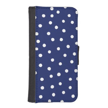 Beach Themed Navy Blue and White Confetti Dots Pattern Wallet Phone Case For iPhone SE/5/5s