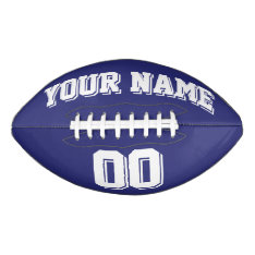Navy Blue And White Custom Football at Zazzle