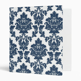 Navy Blue and White Damask Binder