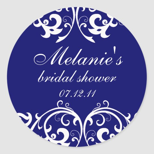 Navy Blue and White Damask Bridal Shower Sticker
