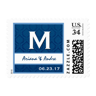 Navy Blue and White Damask Monogram M A220 Postage Stamp