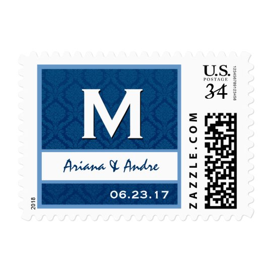 Navy Blue and White Damask Monogram M A220 Postage