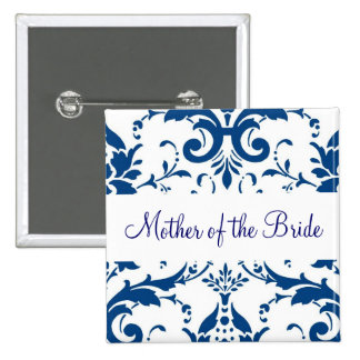 Navy blue and white damask Mother of the Bride pin