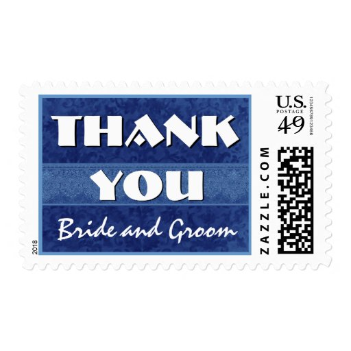 Navy Blue and White Damask Thank You Wedding Postage Stamps