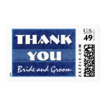 Navy Blue and White Damask Thank You Wedding Stamp