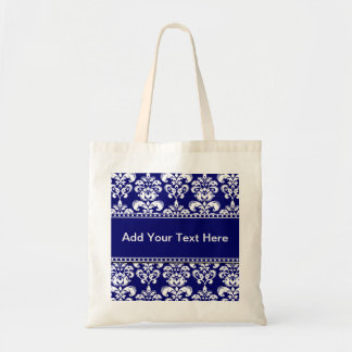 Navy Blue and White Damask Tote Bags Customizable