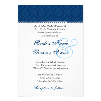 Navy Blue and White Damask Wedding Invitation